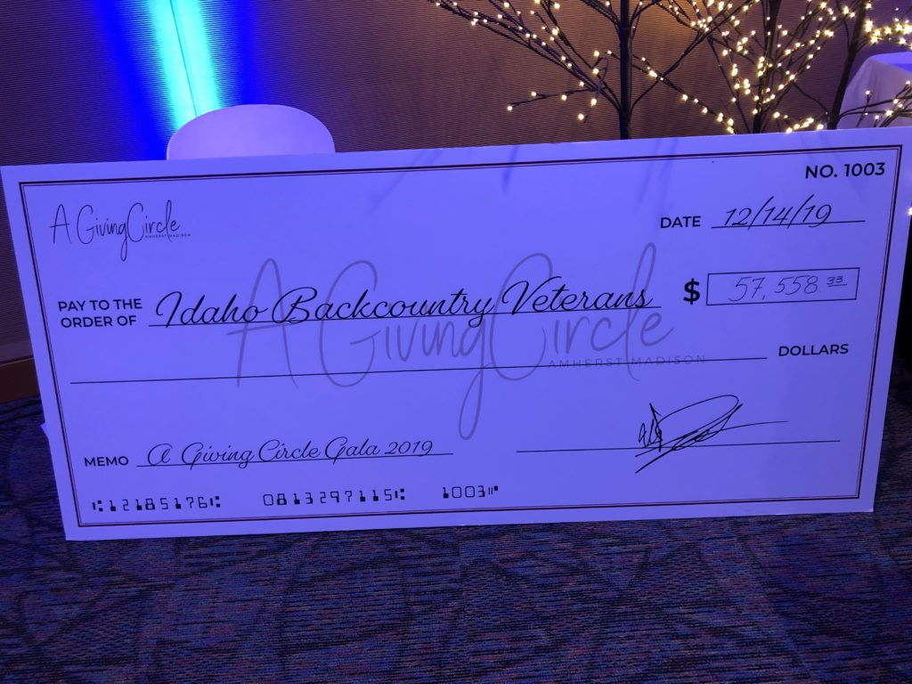 Up close photo of the donation check.